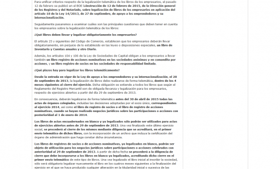 Captura articulo legalizacion telematica libro empresarios